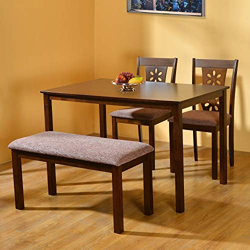 @home by Nilkamal Sutlej Four Seater Dining Set  Antique Cherry