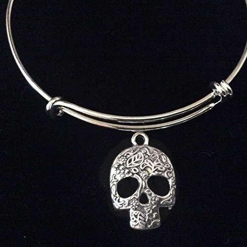 Sugar Skull Gothic Silver Expandable Charm Bracelet Halloween Costume Hostess Gift Adjustable Wire Trendy Stackable Bangle Goth Personalization and Custom Options -
