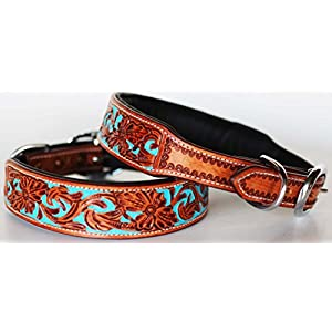 ProRider Large 21''- 25'' Dog Puppy Collar Hand Tooled Painted Cow Leather Western 6047