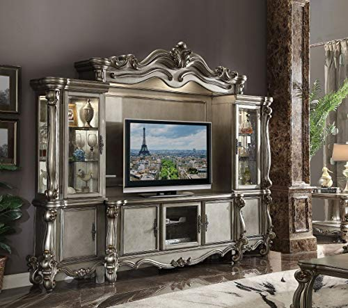 (ACME Versailles Entertainment Center in Antique Platinum Finish)