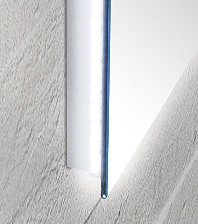 Specchio da bagno con luce a led perimetrale e vetro sporgente Sole ...