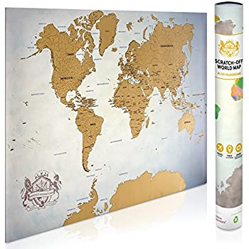 Amazon watercolor world scratch off map perfect gift for any scratch off map of the world 337 x 24 world map poster state outlines of us map canada australia china travel map gift sexy office publicscrutiny Image collections