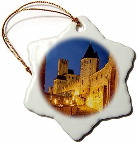 Carreteras - En el Interior de la Cite Carcassonne fortificada, Languedoc-Roussillon, Francia. Adorno de Porcelana de Copo de Nieve de Valentine Herty, 7,62 cm: Amazon.es: Hogar