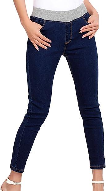 Yuandian Mujers Otono Ocio Plus Size 7 8 Longitud Tobilleros Jeans Denim Slim Fit Skinny Elasticos Dama Pitillo Cropped Vaqueros Pantalones Tejanos Amazon Es Ropa Y Accesorios