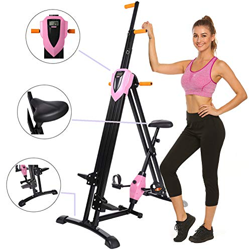 Hurbo Elliptical Exercise Machine, Top Levels Elliptical Machine Fitness Workout Cardio, Magnetic Smooth Quiet Driven Eliptical Trainer Machine with LCD Monitor and Pulse Rate Grips (Pink 1)