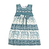 Lofbaz Girls Printed Rayon Sleeveless Tea Dresses Peacock 1 Teal Green 5/6Y