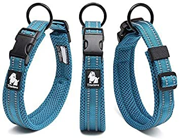 Vivi Bear Padded 3M Night Vision Reflective Stripes Soft Breathable Mesh Dogs Collar Comfy /& Soft Adjustable Collar For Small//Medium//Large Dogs Easy Buckle Design