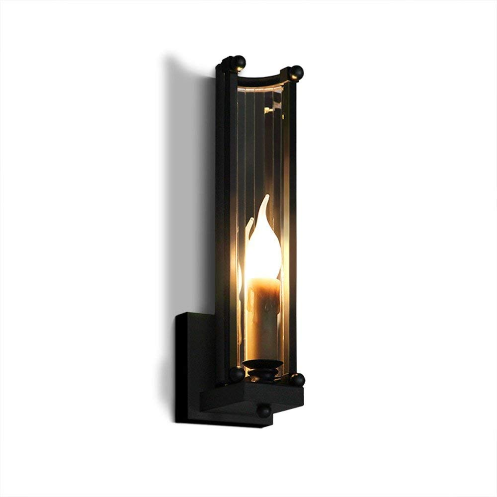 E14壁燈復古壁燈工業設計室裝飾金屬室內照明r臥室餐廳客廳廚房過道走廊走廊樓梯床邊L9 * H35厘米黑色   B07SVX7N2P