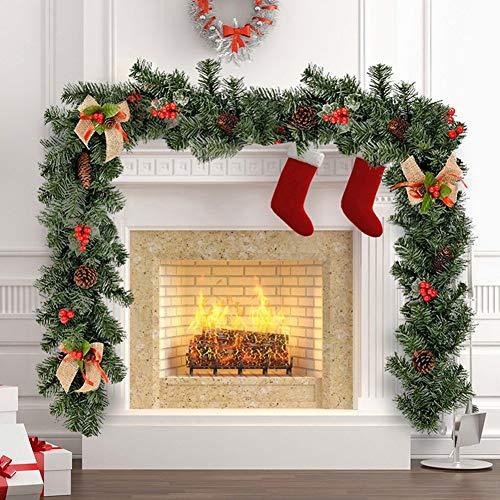 Your's Bath 1.8M Guirnalda Navidad Artificial con Bayas y piñas Guirnalda navideña para Chimenea Escaleras Decoración de Navidad (1.8M, 1PCS)