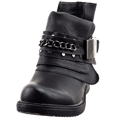 Sopily - Scarpe da Moda Stivaletti - Scarponcini Cavalier Biker alla caviglia donna Catena fibbia Tacco a blocco 3 CM - soletta sintetico - foderato di pelliccia - Nero