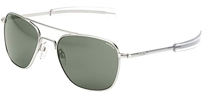 4996a877c5 Randolph Engineering Square Pilot Sunglasses in 23K Gold AGX Green AF056 55 AGX  Green Gold