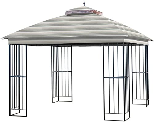 Garden Winds Replacement Canopy for The Garden Treasures Steel Finial Gazebo – Standard 350 – Stripe Stone