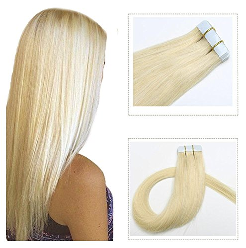 20 inch Tape in Hair Extensions 60 Platinum Blonde Human Remy Hair 20 pcs/50gram Seamless Skin Weft Silky Straight Tape in Real Hair Glue in Extensions (Best Tape In Hair Extensions Reviews)