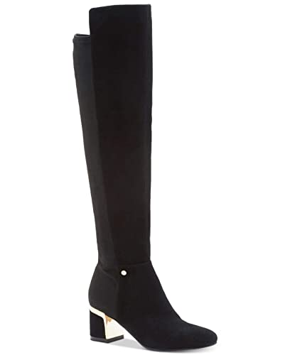 a331724be5dc DKNY Womens Cora Leather Block Heel Over-The-Knee Boots