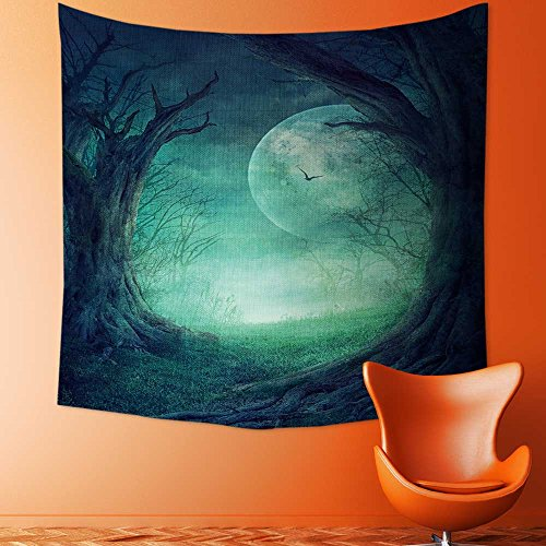 Custom Tapestry Wall Tapestry Wall Hanging Tapestries Halloween design Spooky tree Horror background with autumn valley of Tapestry Wall Blanket Wall Decor Wall Art Home Decor 59.1 x L51.2 -