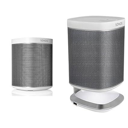 Sonos PLAY:1 WLAN-Speaker für Musikstreaming (Weiß) + Flexson Ladeständer