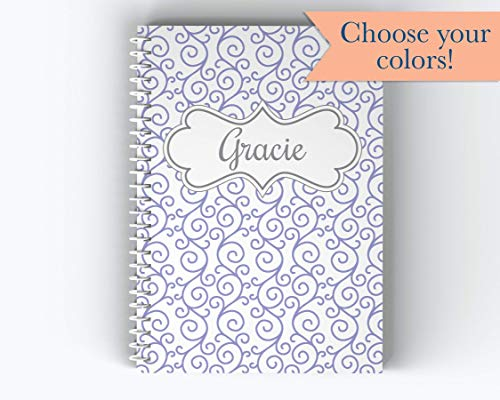 (Personalized Notebook, Name and Flourish Design Spiral Notebook, Writing Journal (NB-017))