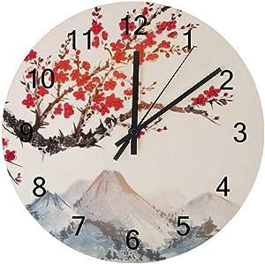 Wooden Wall Clocks Silent Hanging Clock Round Retro Farmhouse Wall Clock ?Cherry Blossoms Oriental Art Quartz Battery Operated Decor Clocks Kitchen Living Room Bedroom Office