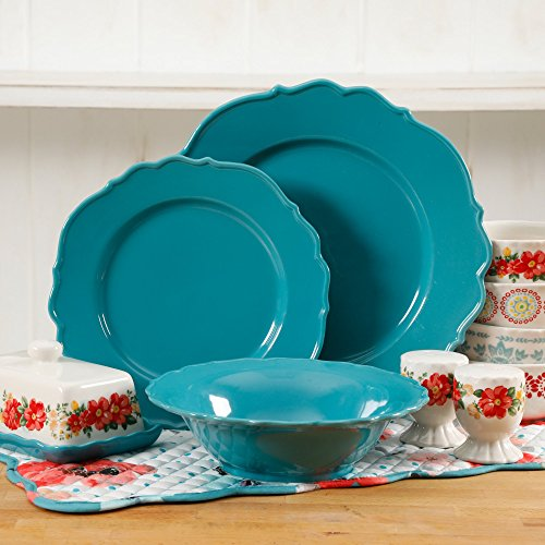 The Pioneer Woman Vintage Ruffle Linen 20-Piece Dinnerware Set 51c 2BwyR35hL