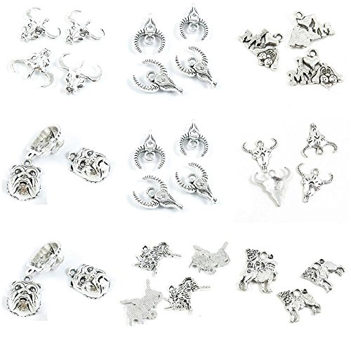 (33 Pieces Antique Silver Tone Jewelry Making Charms Pug Dog English Bulldog Taurus Cow Bull Skull OX Head I Love My)