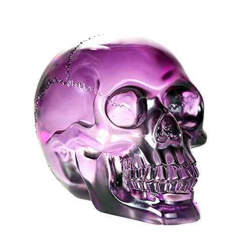 Pacific Giftware Crystal Clear Translucent Skull Collectible Figurine 4.5 Inch (Purple)]()