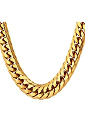 "U7 Men Hip Hop Chunky Chain Stainless Steel/Black Gum/18K Gold Plated Jewelry Necklace ,6mm-12mm Wide,22-30"" Long"