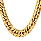 U7 Punk Hip-hop Style Men's Big Chain 12MM Wide 30 Inches 18K Gold Plated Chunky Necklace