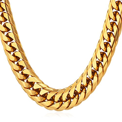 U7 28 Inch Long Necklace Hip Hop Chunky Cuban Curb Chain Men Stainless Steel 18K Gold Plated Necklace