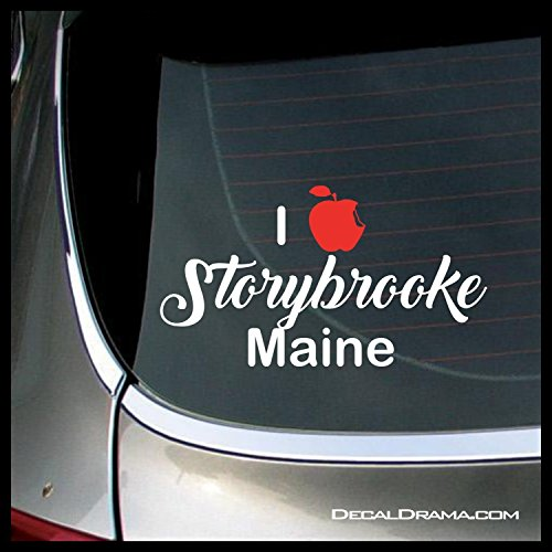 I Love Storybrooke Maine with bitten-apple heart, OUAT-inspired Vinyl Car Decal
