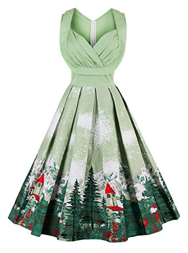 Killreal Women's 1950s Cut Out V-Neck Vintage Casual Cocktail Swing Christmas Dress Plus Size Green XXX-Large