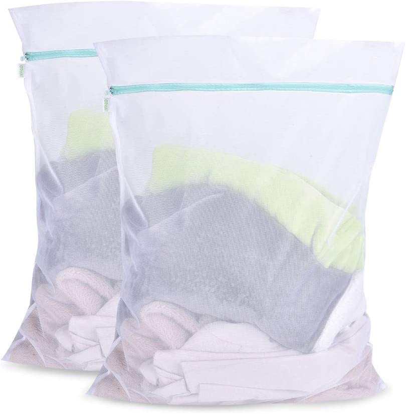 OTraki Mesh Delicates Laundry Bags 2 Pack Zippered Large Wash Bag 24 x 32 inch Durable Washing Net for Garment Sweater Yarn Dress Garment Blouse College Dorm Travel Dirty Clothes Washer Protector