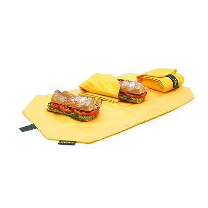 Roll eat BocnRoll - Porta Bocadillos Ecológica y Reutilizable sin BPA, Funda Bocadillo con Cierre Fácil Ajustable, Amarillo