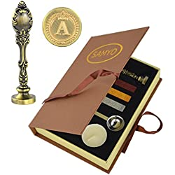 Samyo Creative Romantic Stamp Maker Classic Old-Fashioned Style Brass Color Wax Seal Sealing Stamp Vintage Antique Alphabet Initial Letter Set - (Letter A)