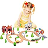 Wooka Wooden Train Sets 100pcs Compatible with Thomas, Brio, Chuggington,Toy for Toddlers