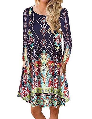 (Demetory Women's 3/4 Sleeve Tribal Print Plus Size Bohemian Swing Dress with Pocket (Navy,)