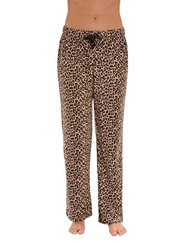 Int Intimate Womens Soft Microfleece Leopard Pajama Pants Drawstring Animal Print Lounge Pjs Sizes: Large (Lounge Leopard Pants)