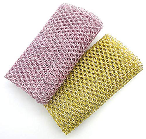 FQWTNANA Non-Scratch Heavy Duty Scouring Pad or Pot Scrubber Pads for Scouring Kitchen, Dishwashing, Cleaning | Nylon Mesh Scrubbing | Scrub Pads Cloth Outlast Any Sponges 2 Pack