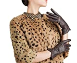 DIDIDD Women'S Italian Leather Dress Driving Gloves Cashmere Fleece Lining Short Fashion Classic Hand Curve Super Warm 10 Colors,Brown,Small