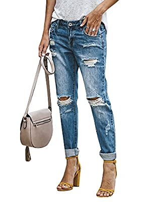 Geckatte Womens Juniors Ripped Distressed Boyfriend Jeans Roll Up Ankle Denim Pants