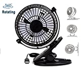 JCXGroup 360° Rotation Portable USB Fan Clip On Table Desk Personal Cooling Office Home child outdoor 2 Mode Speed