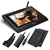 """Parblo Coast10 10.1"""" IPS Graphic Tablet Drawing Monitor Display Painting with Cordless Battery-free Pen,9"""" Black Bluetooth Keyboard,9"""" PU Leather Case Black and 10.1"""" Screen Protector"""