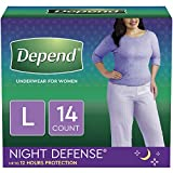 Depend Night Defense Incontinence Underwear for Women, Disposable, Overnight, L, Blush, 14 Count