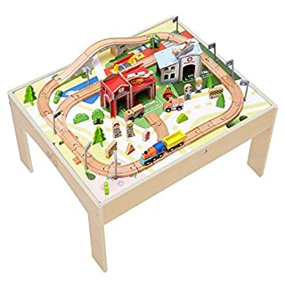 Teamson Kids - 85 pcs Train Set and Table Wooden Tracks and Accessories Preschool Play Lab Toys Country for Boys Kids Toddlers - Wood