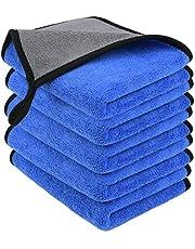 URAQT Microvezeldoeken, 5 stuks microvezel autoreinigingsdoek van 500 g/m², multifunctionele pluisvrije poetsdoeken, super absorberende handdoek voor huishouden, keuken en ramen, 30 x 40 cm