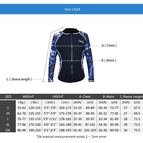 Layatone Wetsuits Top Women Men 3mm Neoprene Jacket Scuba Diving Surfing Suit Top Rash Guard Long Sleeevs Front YKK Zipper Wet Suits Jacket Adults (Blue-Lycra Sleeve,XL)