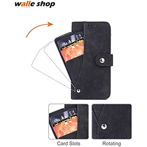 Galaxy S7 Edge case,Walle Shop[Rotating 6 Card Slots][Flip][Leather Cover][Wallet Case] Button Snap With Stand and Pocket Shell 360 Protection Designed For Sales