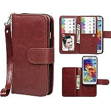 Samsung Galaxy S5 Case,xhorizon TM SR Premium Leather Folio Case[Wallet Function][Magnetic Detachable]Wristlet Lanyard Flip Book Style Multiple Card Slots Case for Samsung Galaxy S5 (i9600)- Coffee