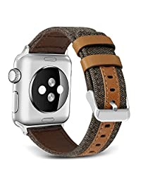 Band for Apple Watch, SKYLET Canvas Fabric Genuine Leather Strap for Apple Watch Series 3 Series 1 Nike+
