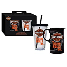 Harley Davidson The Legend Rolls On Hot and Cold Travel Cup Set