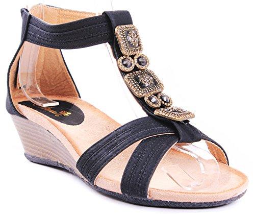 Beth Gem Jewel Beaded T-Strap Zipper Comfort Dress Wedge Heel Sandals B00K2P3LK4 6.5 B(M) US|Black